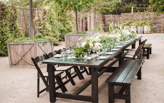 Rentals Rustic Events - Farm table with bench seating