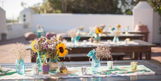 Seaside wedding with rustic wood table and bench rentals by Rustic Events. Photography by Ashley Bee at The San Clemente Historic Cottage, San Clemente, Orange County, CA.