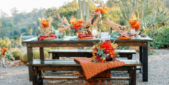 Bright Santa Fe styling with farm table rentals by Rustic Events and featured in San Diego Style Wedding Magazine. Photography by Chris and Don MacAskill at The Old Cactus Garden, Balboa Park, San Diego, CA.