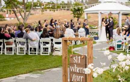 It's the details that make a wedding special. Wedding signs, wooden table rentals, and farmhouse tables for rent available from Rustic Events. Photography by Theresa Bridget in Wine Country Temecula.