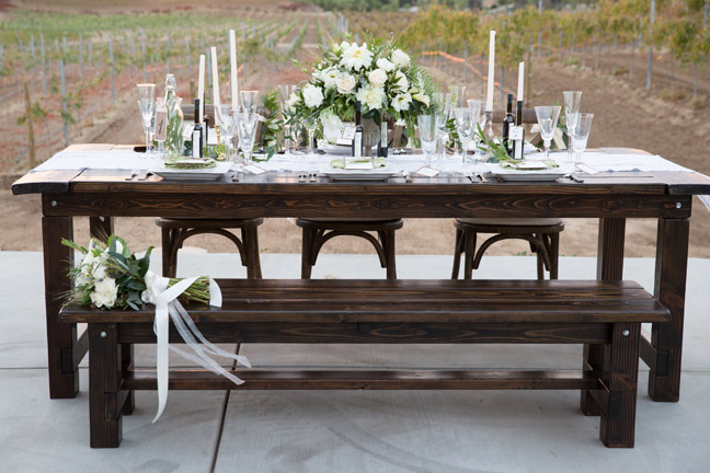 Winery views with wood table rentals by Rustic Events. Photography by Leah Marie at Danza del Sol Winery, Temecula, CA.