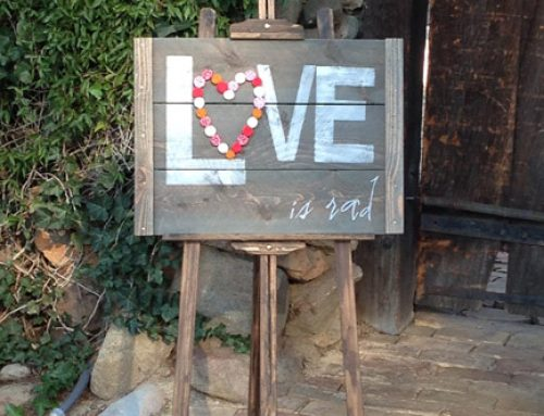 farm tables for rent_ rustic wood sign for wedding_Love Is Rad 45
