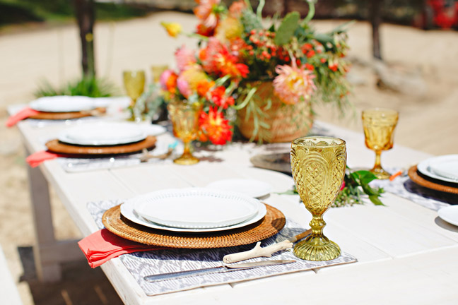 Whitewash picnic tables with bright Santa Fe styling. Photography by Stacee Lianna at Two Sisters Farms in Wine Country, Temecula, CA.